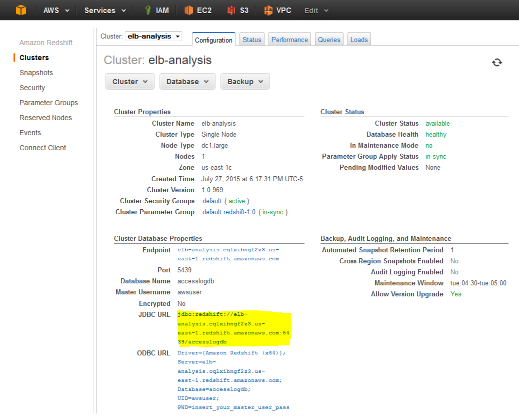 Using Amazon Redshift to Analyze Your Elastic Load Balancer