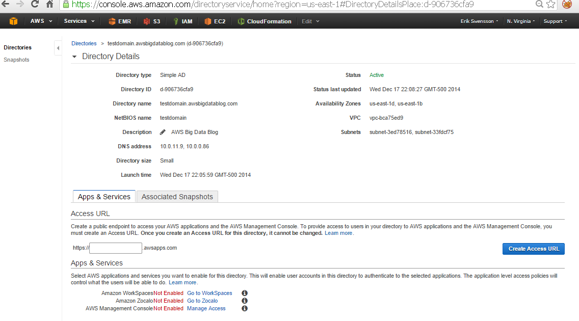Using LDAP via AWS Directory Service to Access and