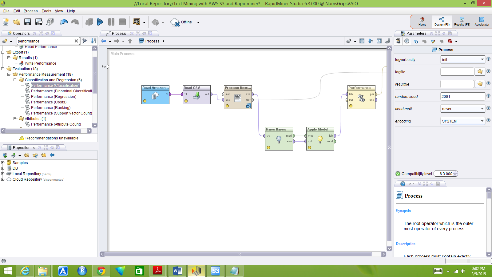 Using RapidMiner to create a text mining workflow integrated with S3