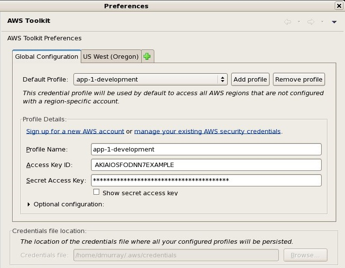 The AWS Toolkit for Eclipse Preferences Page