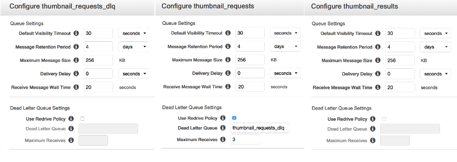 Screenshots of Amazon SQS queue configurations