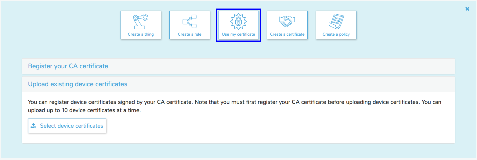 Use your own certificate with aws iot aws mobile blog in the aws console navigate to aws iot and select use my certificate then upload existing device certificates in order to upload your device 1betcityfo Choice Image