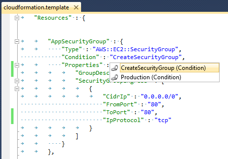 Resource condition support in the aws cloudformation editor aws if the condition evaluates to true then the resource is created with the cloudformation stack that is the instantiation of the cloudformation template maxwellsz