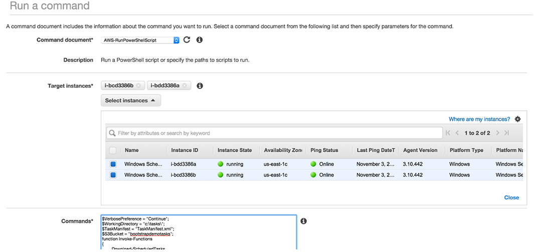 Installing Scheduled Tasks on EC2 Windows Instances Using EC2 Run