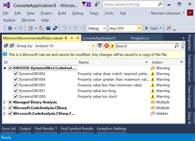 Code Analyzers Added to AWS SDK for  NET | AWS Developer Blog