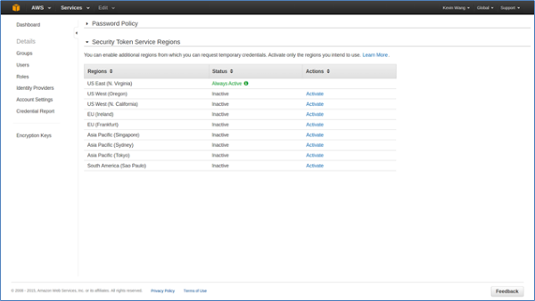 Image of new user interface for managing AWS STS regions