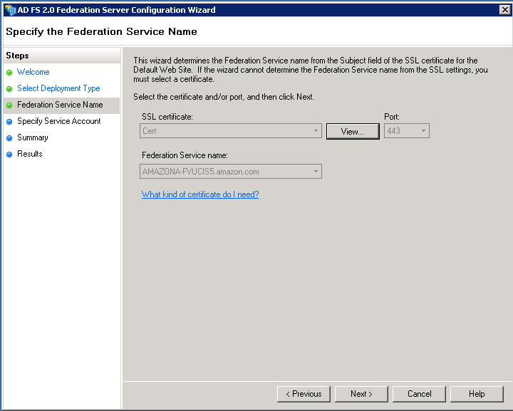 Screenshot of specifying the Federation Service name