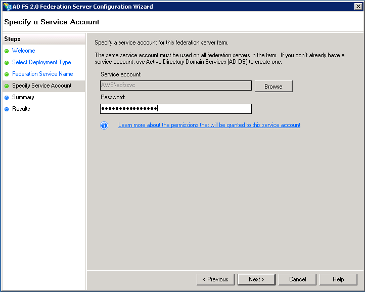 Screenshot of specifying a service account