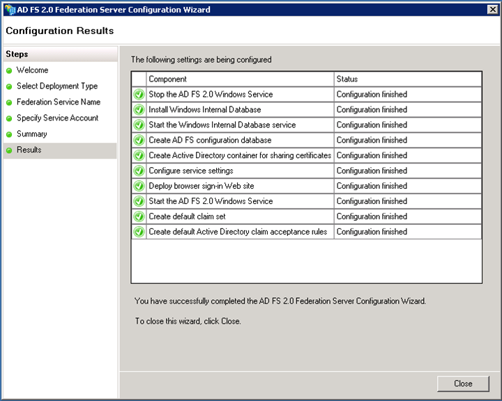 Screenshot of configuration results