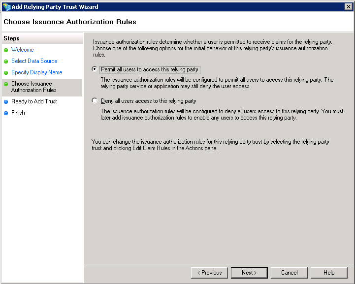 Screenshot of choosing issuance authorization rules