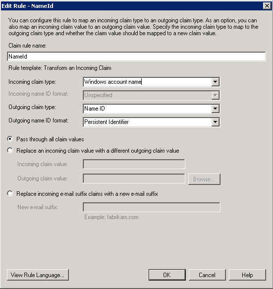 Screenshot showing the settings to choose