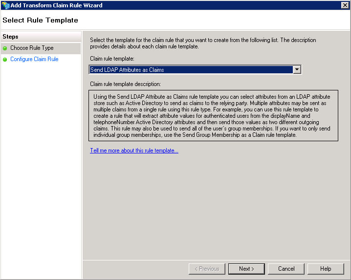 Screenshot of choosing Send LDAP Attributes as Claim