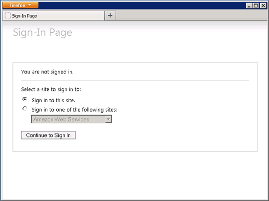 Screenshot of choosing Amazon Web Services to sign in to