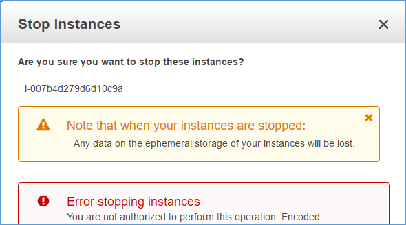 Screenshot showing the error message user Bob sees if he tries to stop an EC2 instance