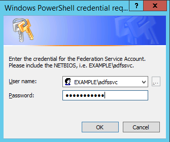 Image of submitting the credentials of the service account