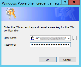 Image of entering IAM access key and secret access key