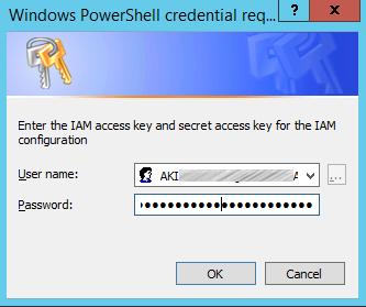 Image of entering IAM access key and secret access key
