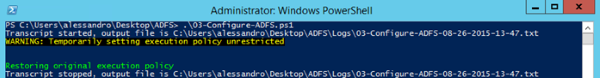 Image of running the script in a Windows PowerShell window launched as administrator