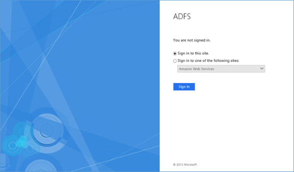 Image of browser launched with AD FS sign-in page