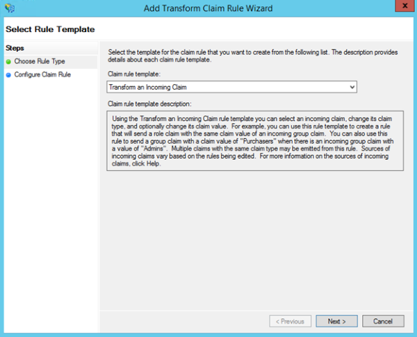 Image of choosing Transform an Incoming Claim template