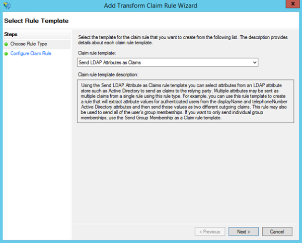 Image of selecting Send LDAP Attributes as Claims