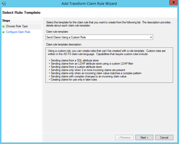 Image of selecting Send Claims Using a Custom Rule