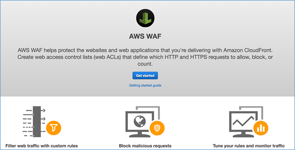 Screenshot of the AWS WAF console
