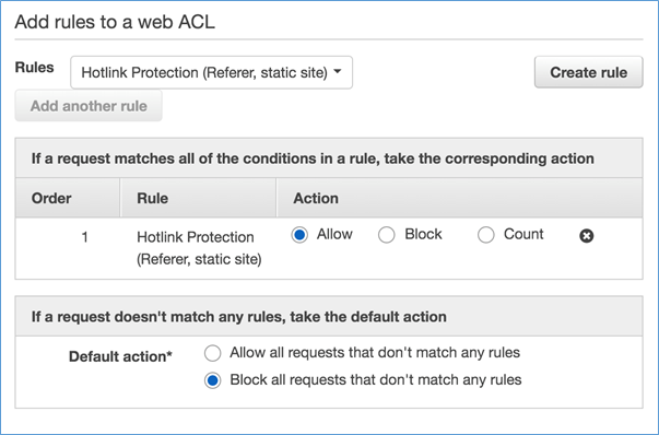 Image showing the setting of the rule to Allow and the Default Action to Block