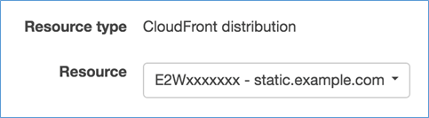 Image of choosing the CloudFront distribution