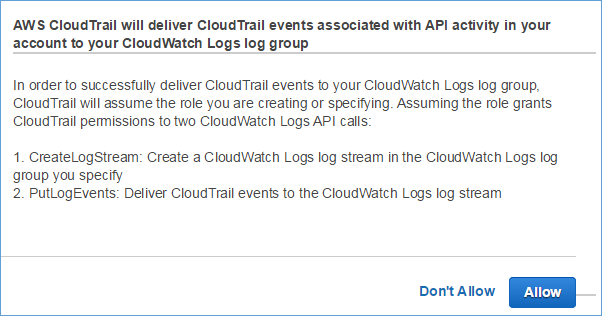Image of allowing CloudTrail to access your CloudWatch Logs log group