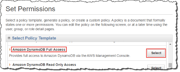 "Screenshot of selecting ""Amazon DynamoDB Full Access"" policy template"