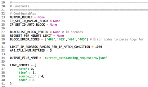 Image of configurable code section from function