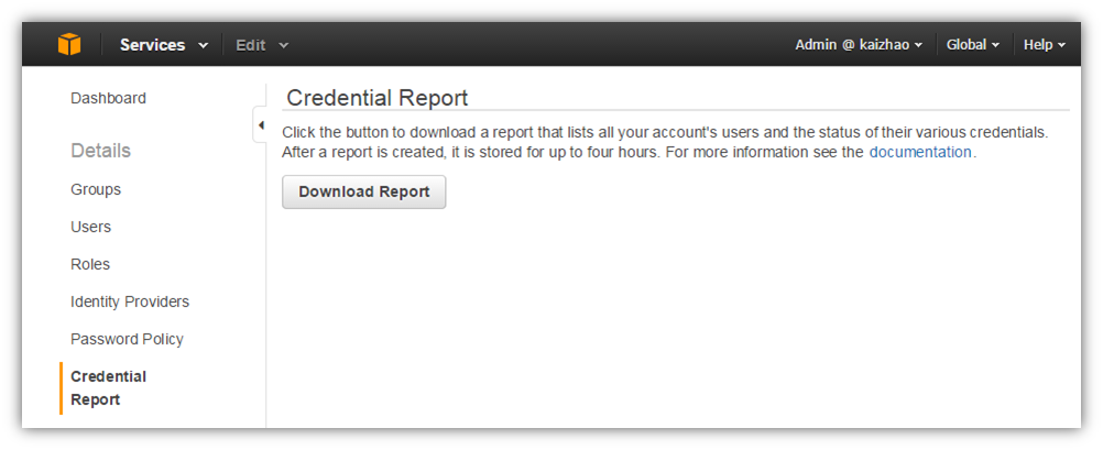 Screenshot of console page from which you download a credential report