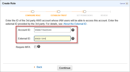 Screenshot of typing the account ID and external ID