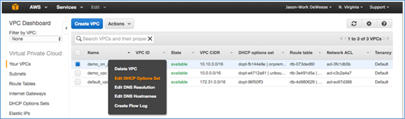 Screenshot of selecting the DHCP options set you just created