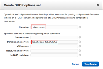 Screenshot of creating a DHCP options set