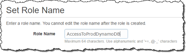 Screenshot of naming the role AccessToProdDynamoDB