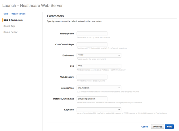 Image of Healthcare Web Server parameters