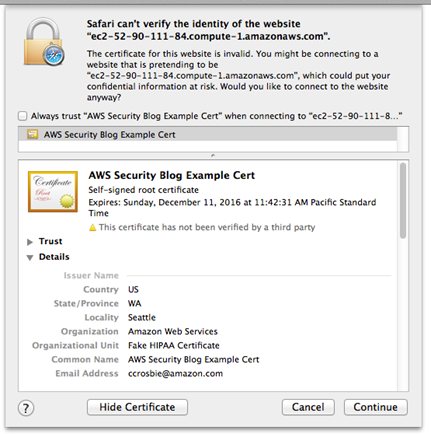 Image of certificate error shown for the purpose of this blog post only