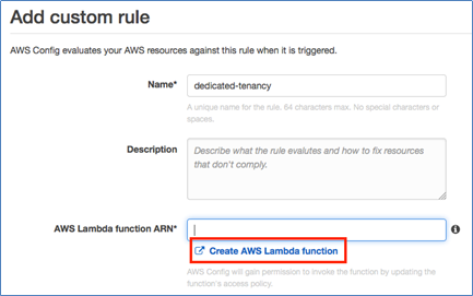 Image of creating the AWS Lambda function