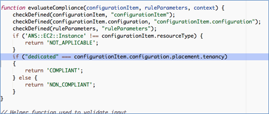 "Image of the function returning as ""COMPLIANT"" if the EC2 instance is dedicated tenancy"