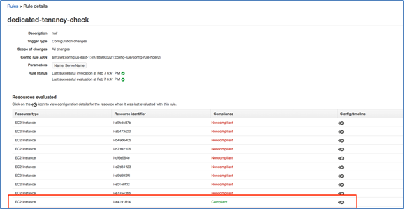 Image of EC2 instances displayed that are using dedicated tenancy