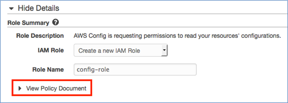 "Image of clicking ""View Policy Document"" to see the permissions to be associated with this IAM role"