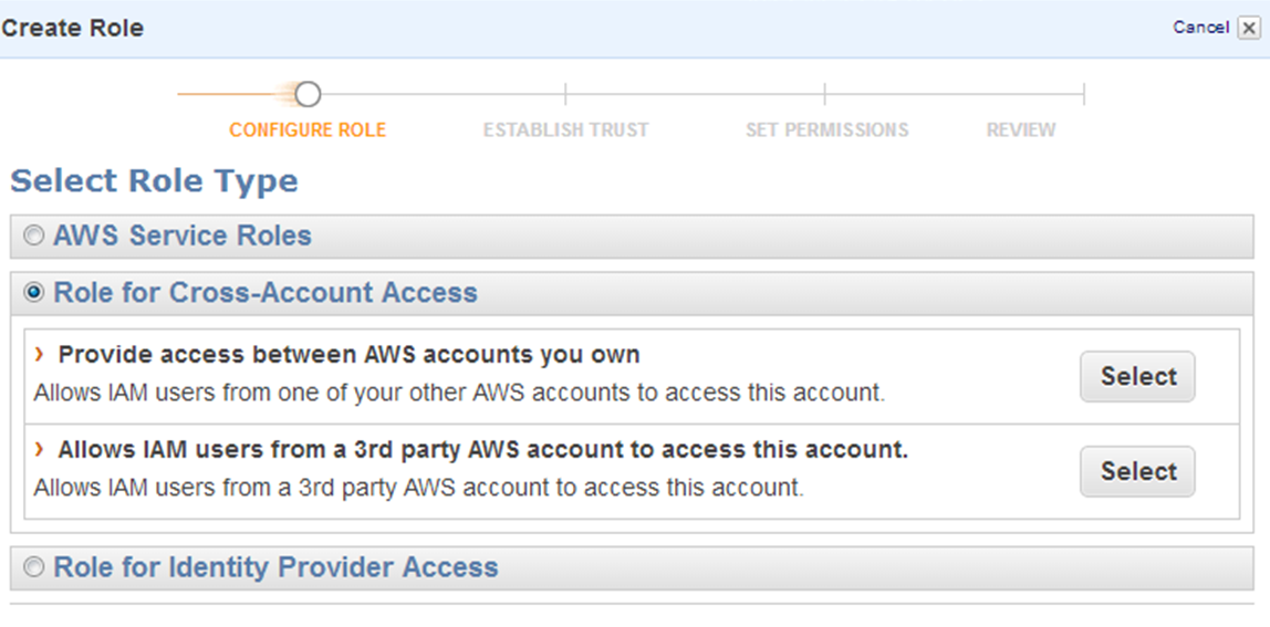 "Screenshot of selecting the role type ""Provide access between AWS accounts you own"""