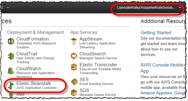 Screenshot showing Elastic Beanstalk enabled for a federated user accessing the AWS Management Console via a role