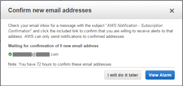 Image of email address confirmation box