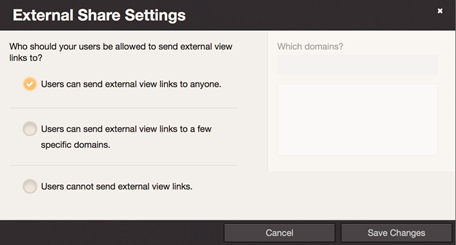 "Image of having selected ""Users can send external view links to anyone"""