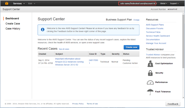 Screenshot showing how the Support Center looks like when a federated user accesses it