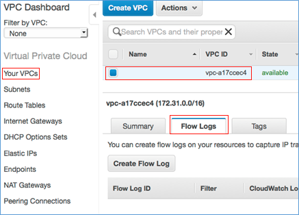 Screenshot showing enabling VPC Flow Logs