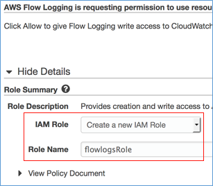 Screenshot of creating a VPC Flow Log